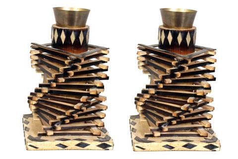 Bamboo SPINDER CANDLE STAND - 2PCS