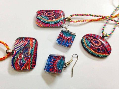 Aqua-Intrica Glass Pendants and Earrings