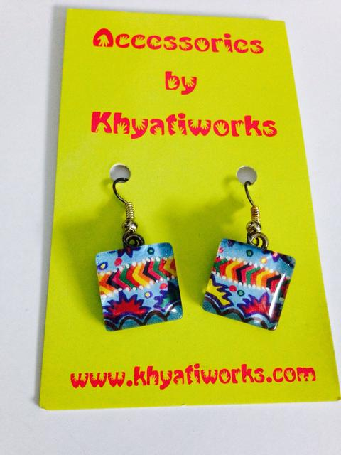 Blue-Ivy Square Glass Earrings