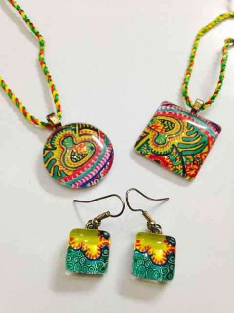 Gardenia - Glass Tile Pendants and Earrings