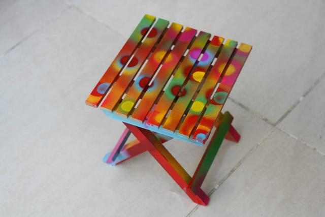 RAINBOW SHOWERS - Hand Painted Small Folding Table