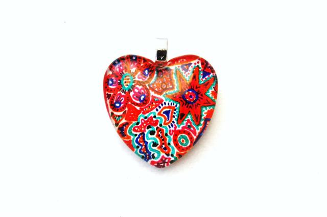 Very-Strawberry - Heart shaped Glass Pendant