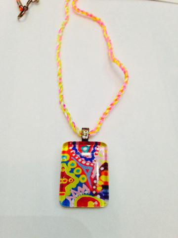 Strawbella Small Rectangle Glass Pendant