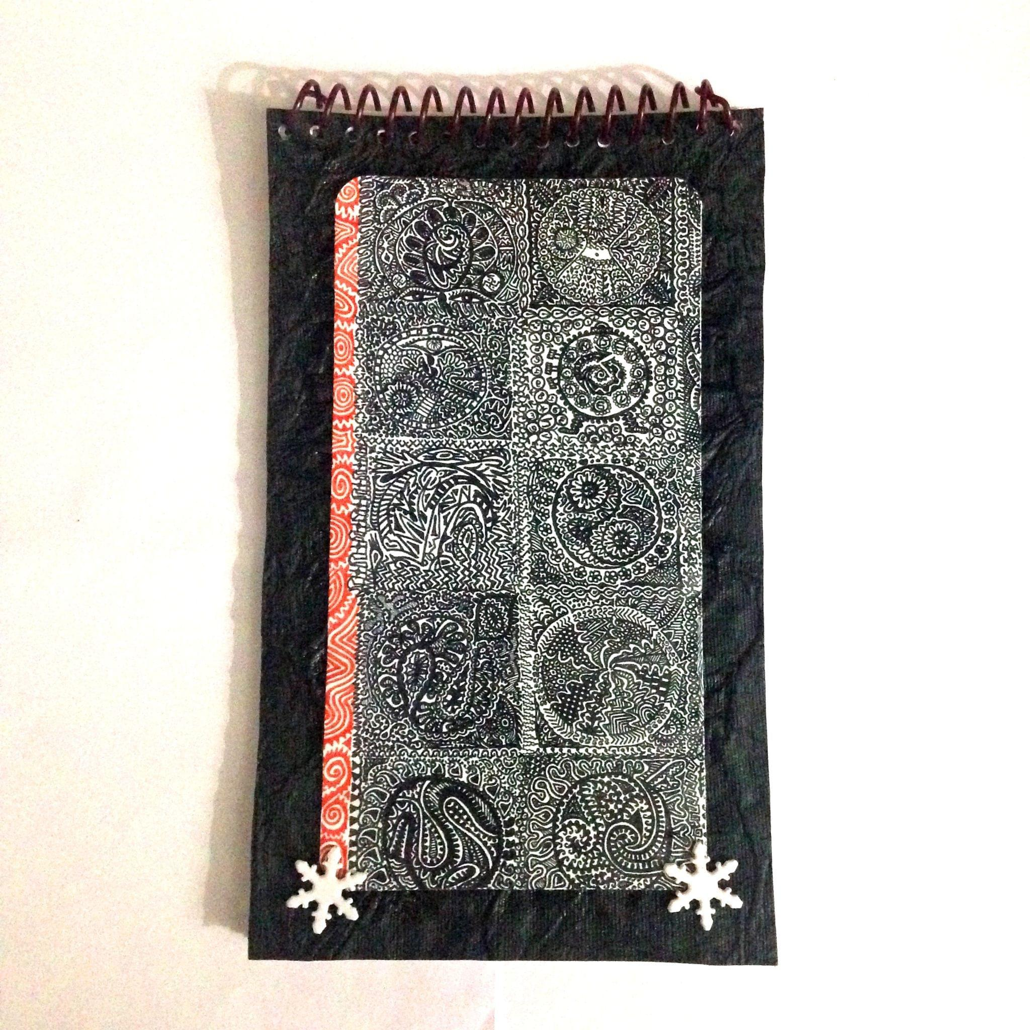 Spiral Notebook - Black Illu-gination with Snowflake Brads