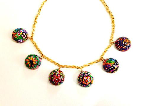 I am THE - Hanpainted Wooden Semi Spheres Necklace