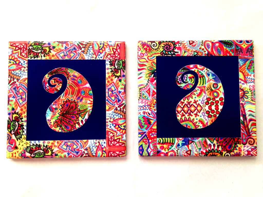 Blue Paisley Summer Trail Set of 2 Ceramic Coasters