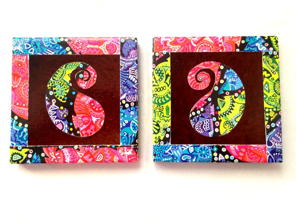 Brown Paisley Vibgyorise Set of 2 Ceramic Coasters