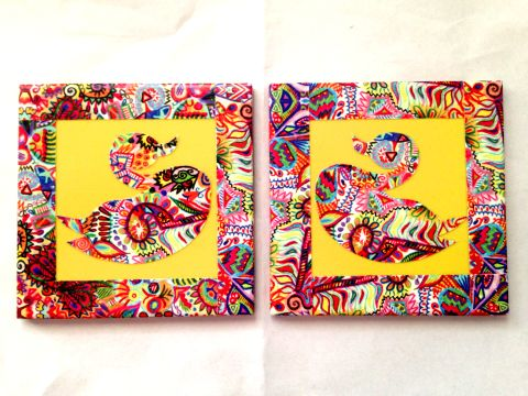 Yellow Swan Summer Trail Set of 2 Ceramic Coasters