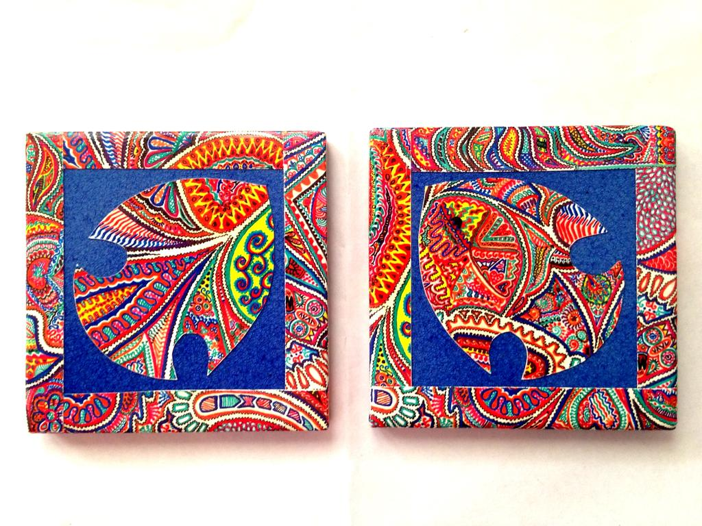 Blue Fish OWWA Set of 2 Ceramic Coasters