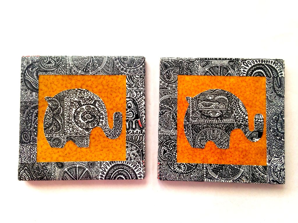 Brown Elephant Illu-gination Set of 2 Ceramic Coasters