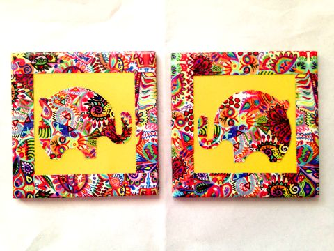 Yellow Elephant Summer Trail Set of 2 Ceramic Coasters