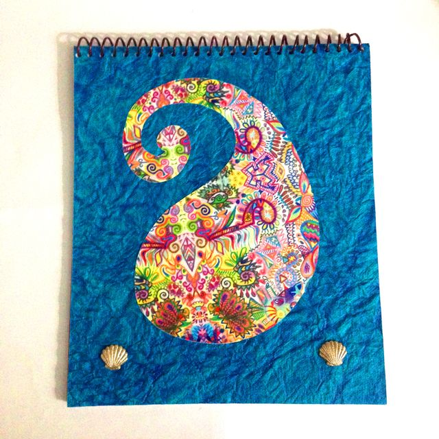 Spiral Notebook - Blue Paisle with Shell Brads