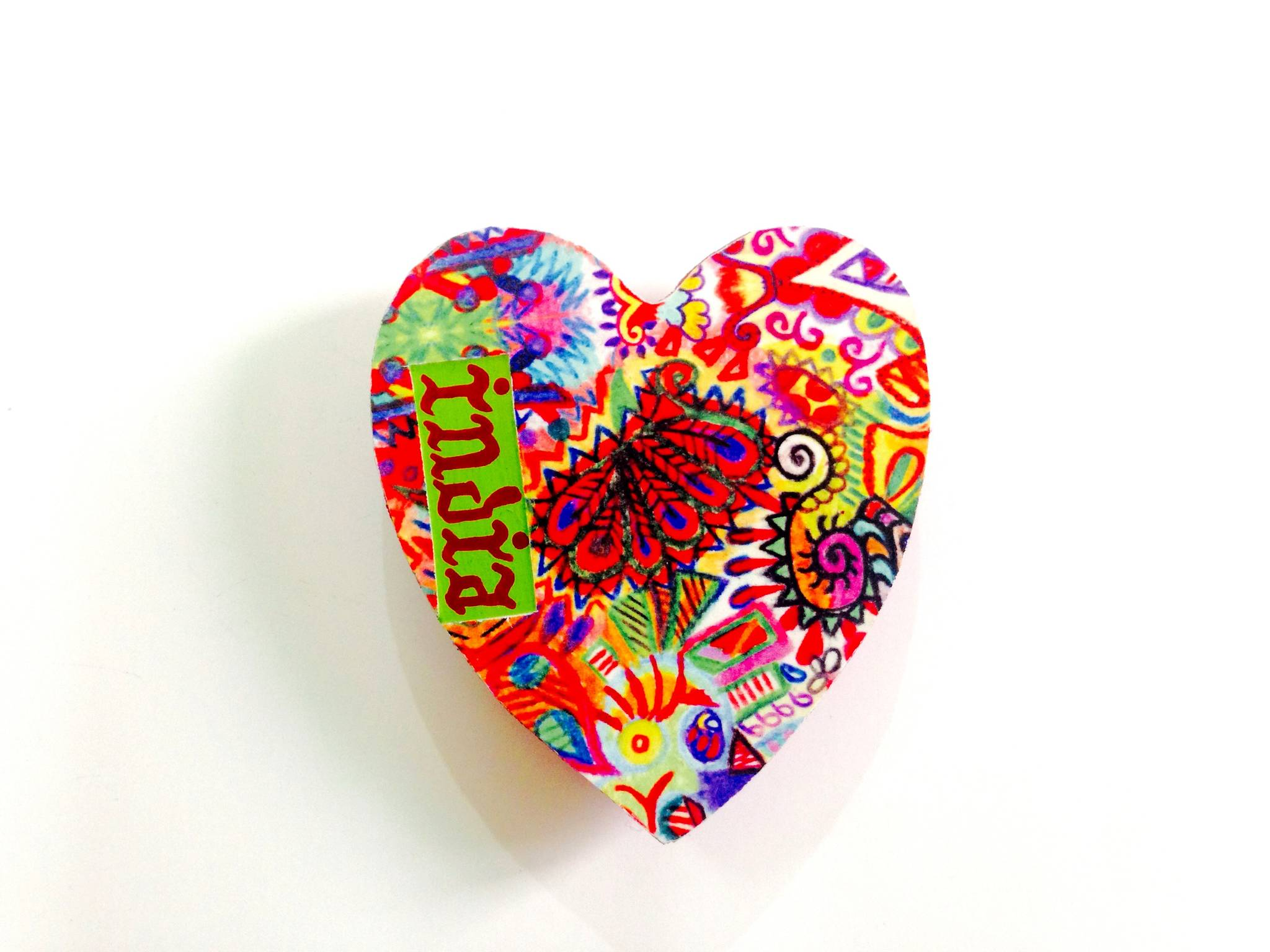 Summer Trail Heart India Wooden Magnet