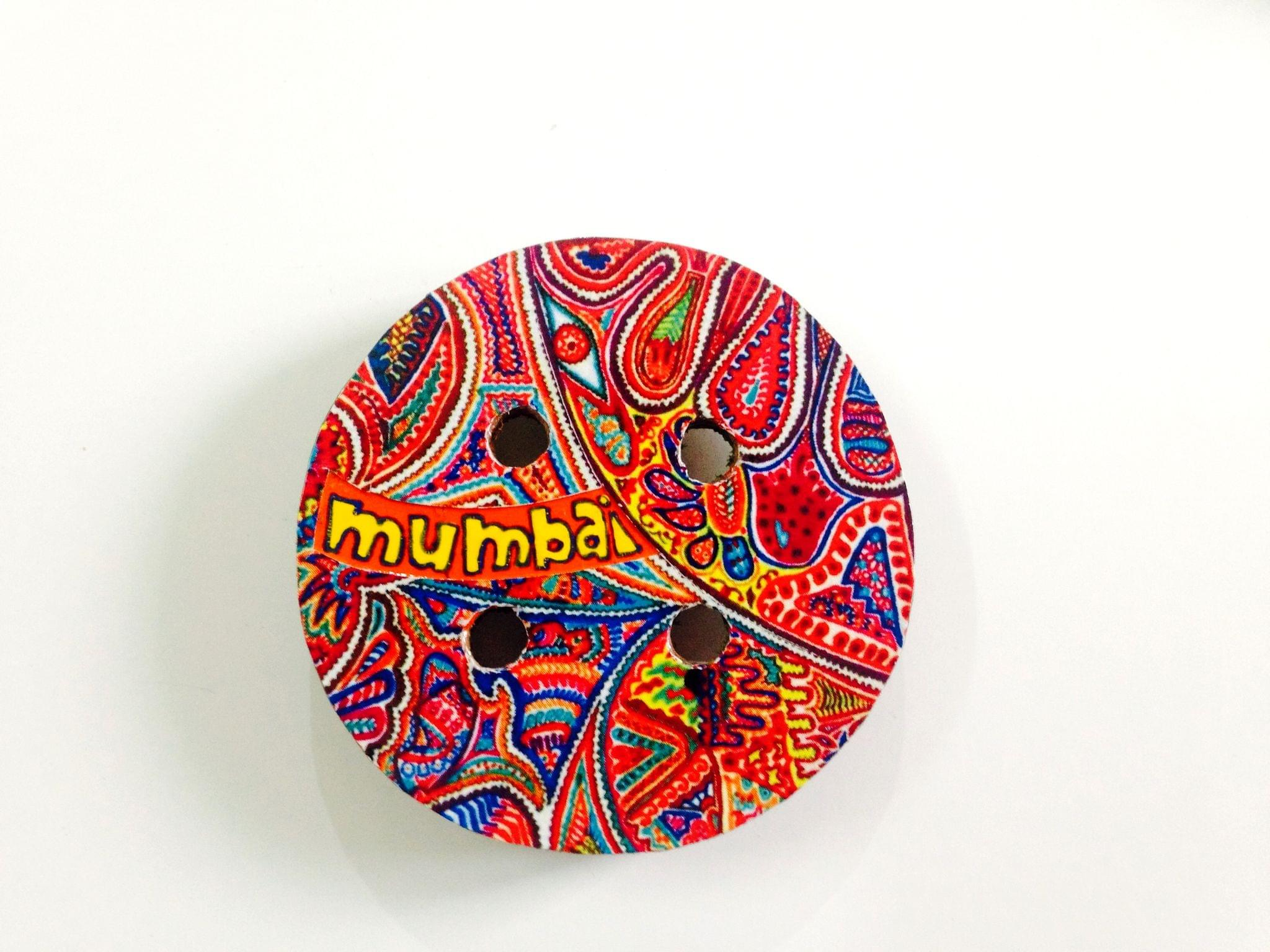 Art Button Mumbai Wooden Magnet