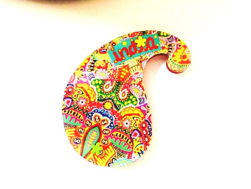 Colorama Paisley India Wooden Magnet
