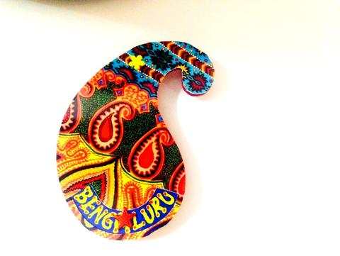 Ethereal Paisley Bengaluru Wooden Magnet