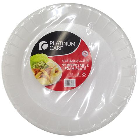 "Platinum Care Disposable Foam Plate 9"" 25's"