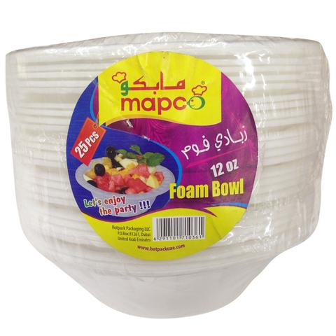 MAPCO Foam Bowl 12 Oz 25 pcs