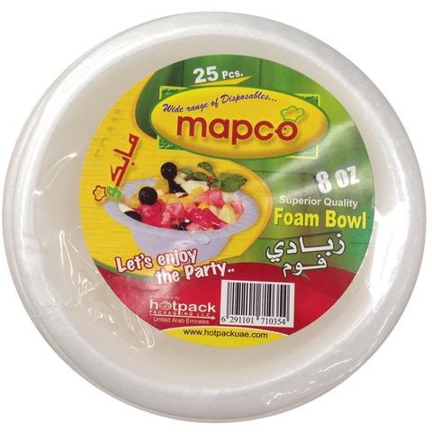 MAPCO Foam Bowl 8 Oz 25 pcs