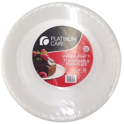 "Platinum Care Disposable Foam Plate 7"" 25's"