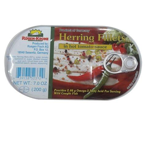 Rugen-Krone Herring Fillets in Hot Tomato Sauce 200g