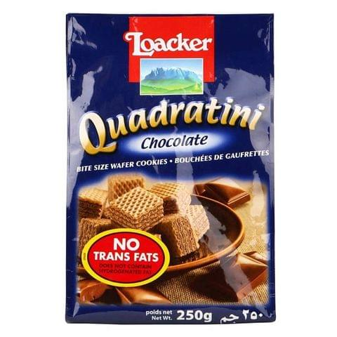 Loacker Quadratini Bite Size Wafer Cookies Chocolate 250gm