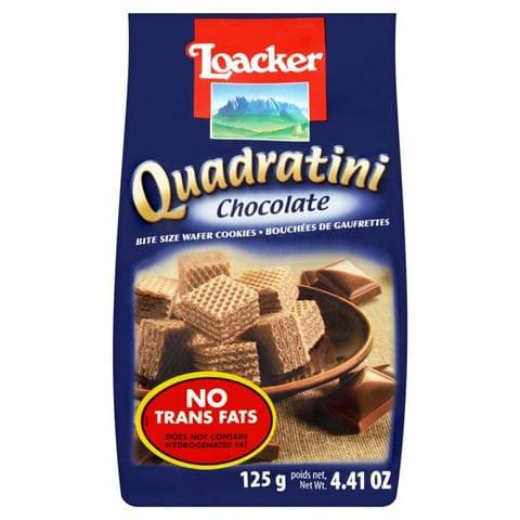 Loacker Quadratini Bite Size Wafer Cookies Chocolate 125gm