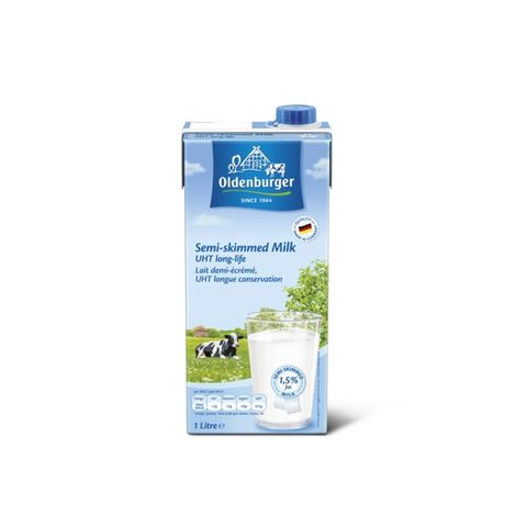 Oldenburger Uht Semi Skimmed Milk 1.55% Fat 12 x 1L