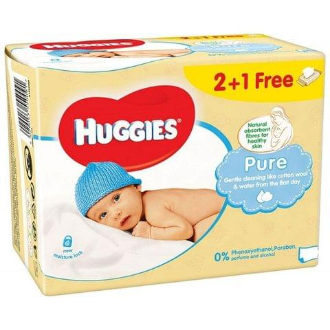 Huggies Baby Wipes Pure 56s 2+1free