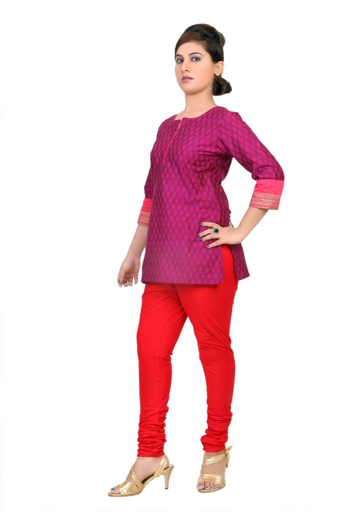 CHURIDAR - SILK, RED