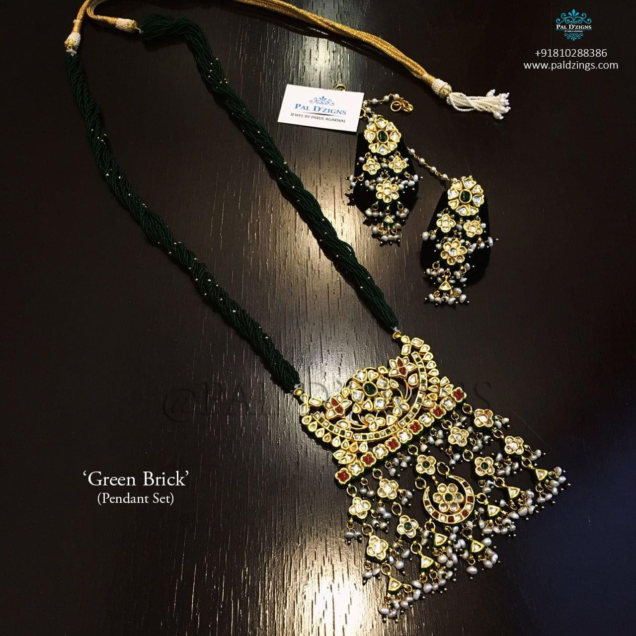 Green Brick Kundan Set
