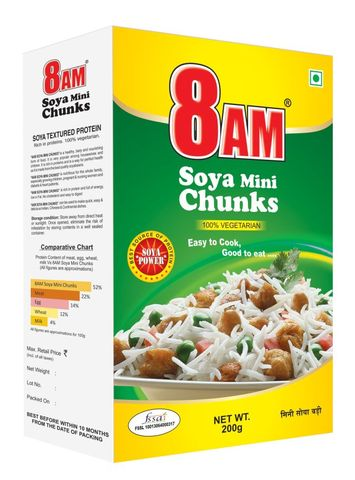 8 AM SOYA MINI CHUNKS 200 GM
