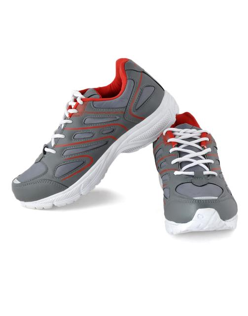 Style Grey & Red Sports Shoes