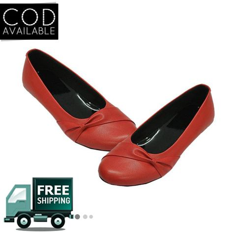 Red Flat Women Ballerinas