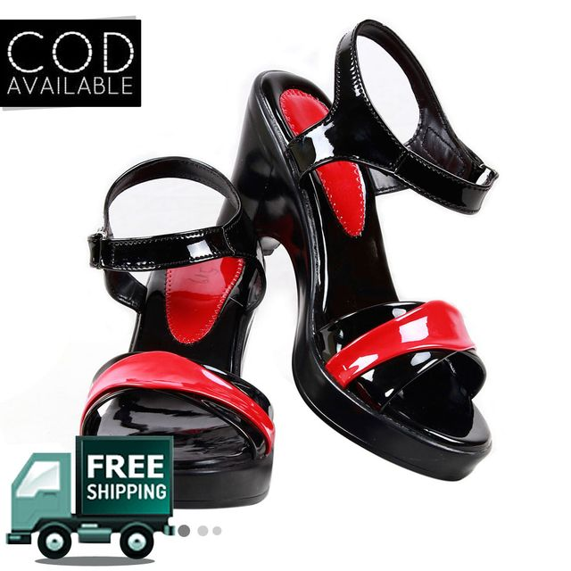 Black & Red Heeled Women Sandal