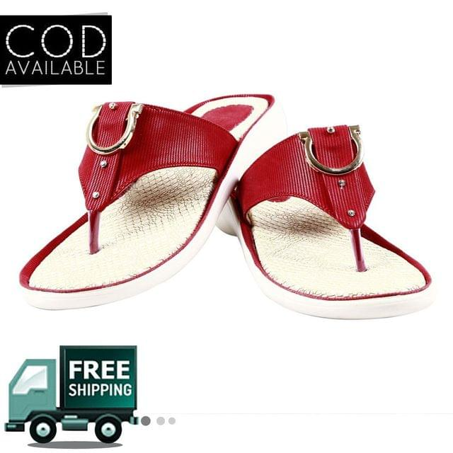 Maroon Women Casual Slippers