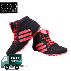 Black & Red Women Ankle Sporty