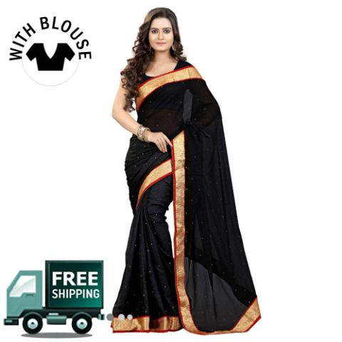Chiffon Lace Work Saree
