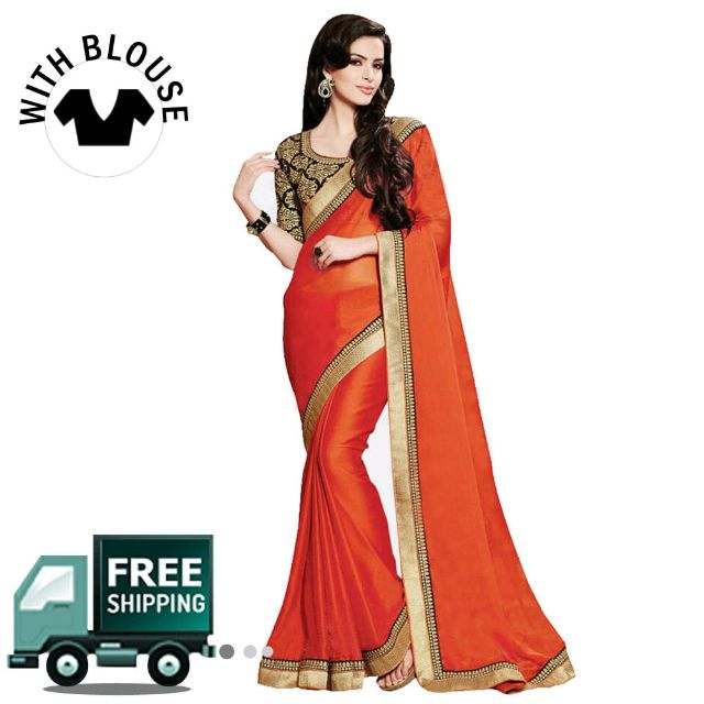 Orange Georgette Half Saree