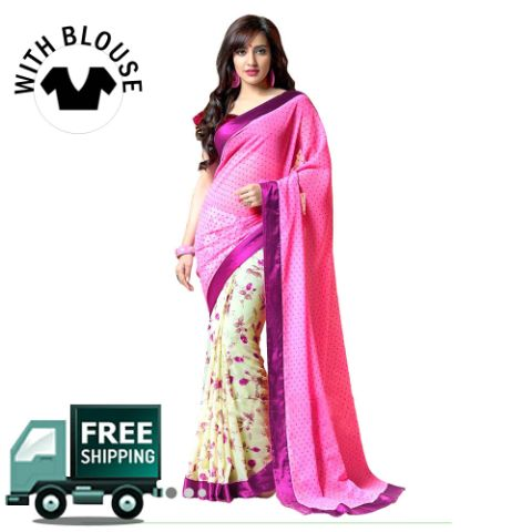 Off White & Pink Color Georgette Party Wear Saree