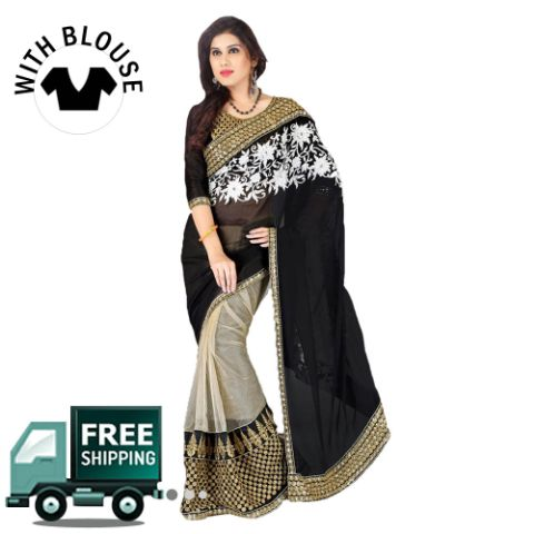 Cream & Black Color Georgette Party Wear Saree
