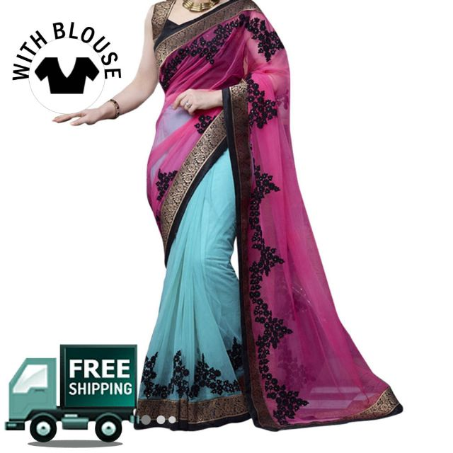 Sky Blue & Pink Color Net Party Wear Saree
