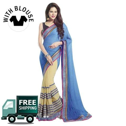 Cream & Blue Color Georgette Party Wear Saree
