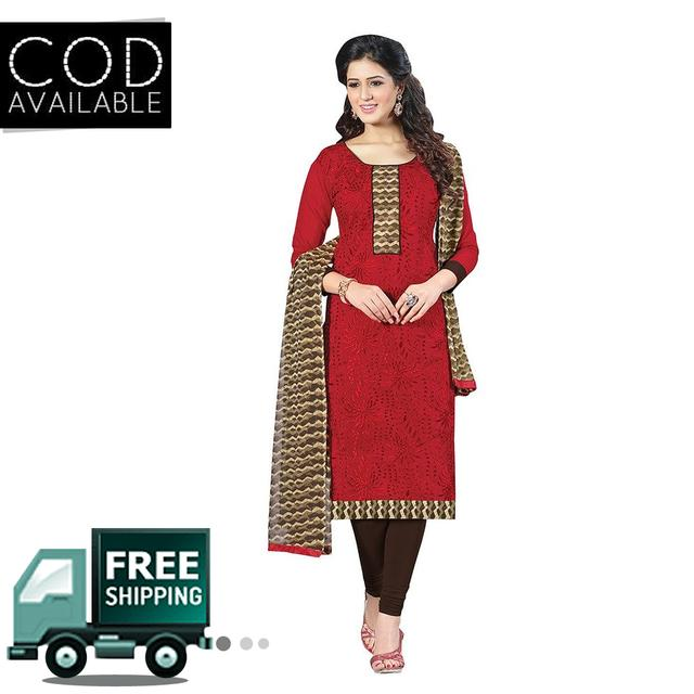 Ps Enterprise Red Chanderi Unstitched Dress Material