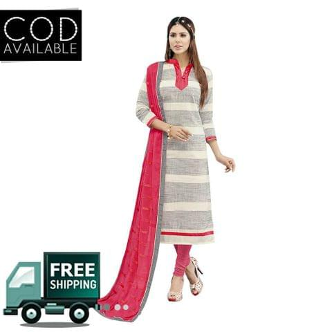 Ps Enterprise Pink Chanderi Semi-Stitched Dress Material