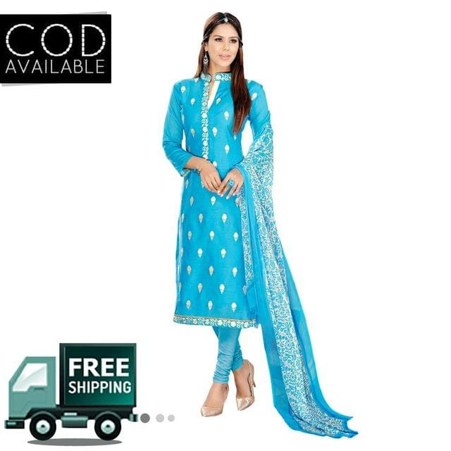 Ps Enterprise Chanderi Semi-Stitched Dress Material