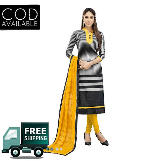 Ps Enterprise Black-Yellow Chanderi Semi-Stitched Dress Material