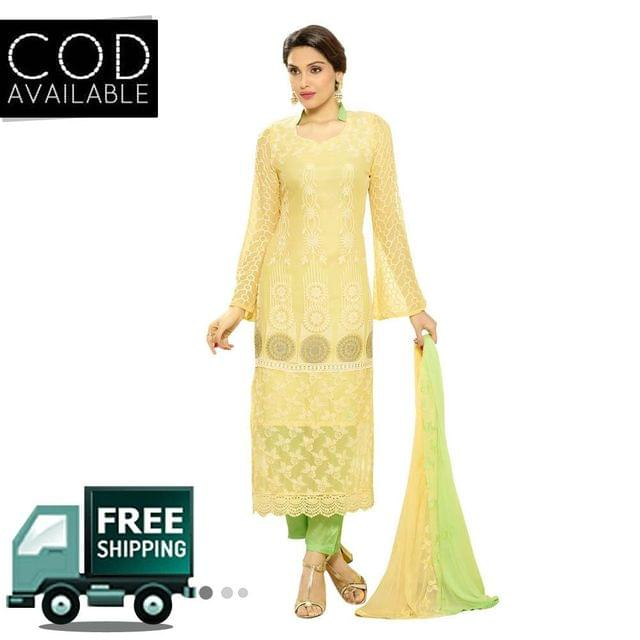 Ps Enterprise Yellow Chiffon Unstitched Dress Material