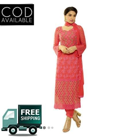 Ps Enterprise Red Chiffon Unstitched Dress Material