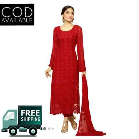 Ps Enterprise Red ChiffonUnstitched Dress Material